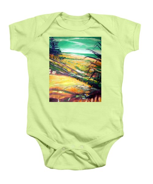 Baby Onesie featuring the painting From The Lawn Pandanus by Winsome Gunning