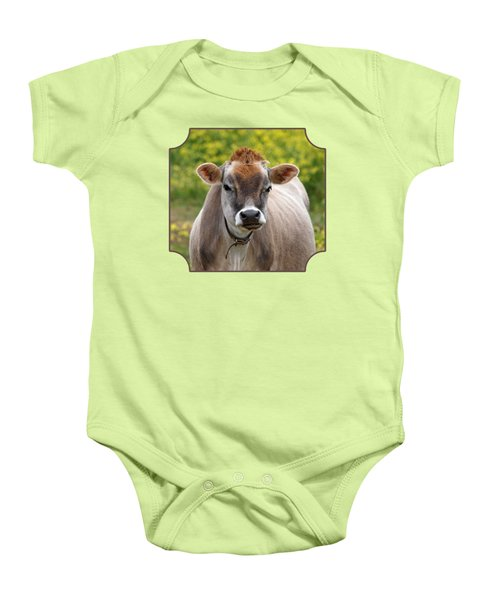 Funny Jersey Cow - Horizontal Baby Onesie by Gill Billington
