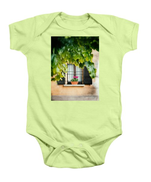 Baby Onesie featuring the photograph Geraniums On Windowsill by Silvia Ganora