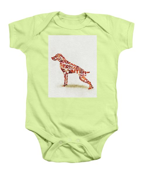German Shorthaired Pointer Watercolor Painting / Typographic Art Baby Onesie