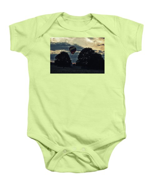 Hot Air Balloon Between The Trees At Dusk Baby Onesie