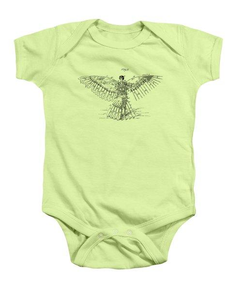 Icarus Human Flight Patent Artwork - Vintage Baby Onesie