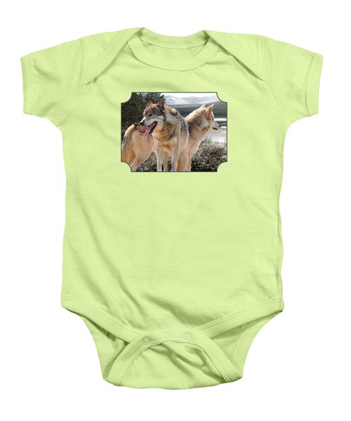 Keeping Watch - Pair Of Wolves Baby Onesie by Gill Billington
