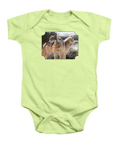 Keeping Watch - Pair Of Wolves Baby Onesie