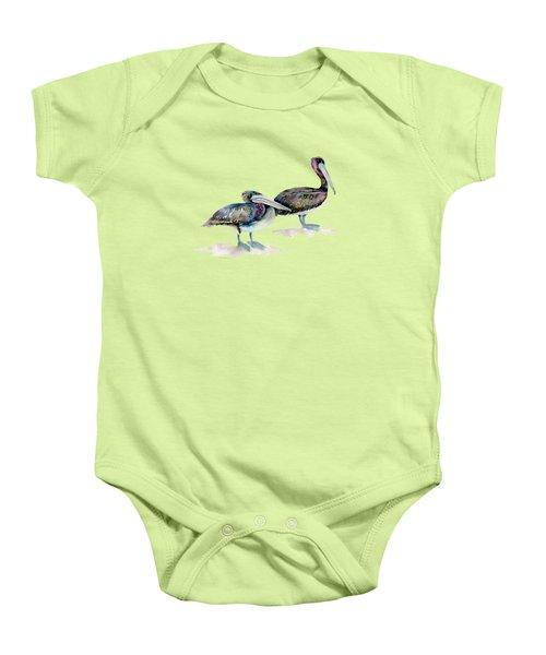 Laurel And Hardy, Brown Pelicans Baby Onesie by Amy Kirkpatrick