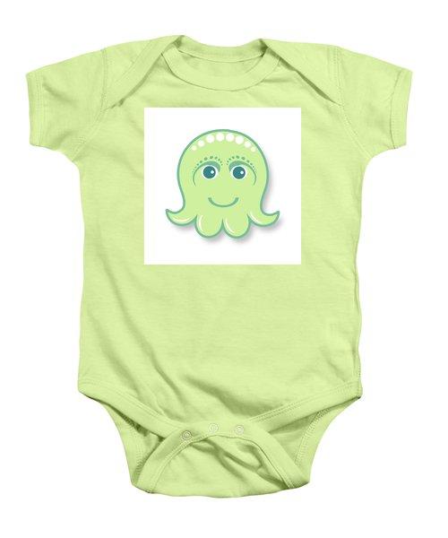 Little Cute Green Octopus Baby Onesie