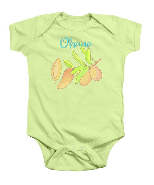 Mango Ohana Tropical Hawaiian Design Of Fruit And Family Baby Onesie