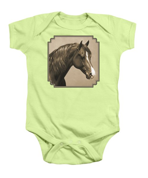 Morgan Horse Painting In Sepia Baby Onesie by Crista Forest