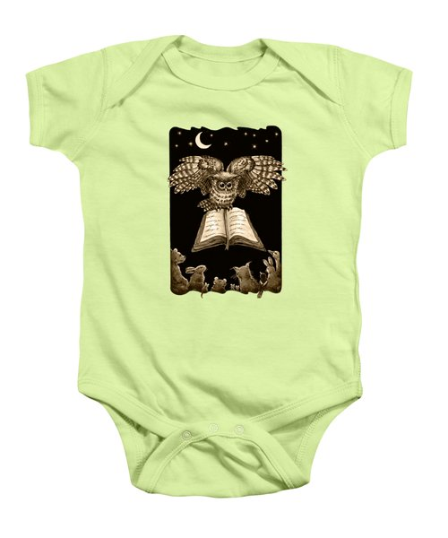 Owl And Friends Sepia Baby Onesie