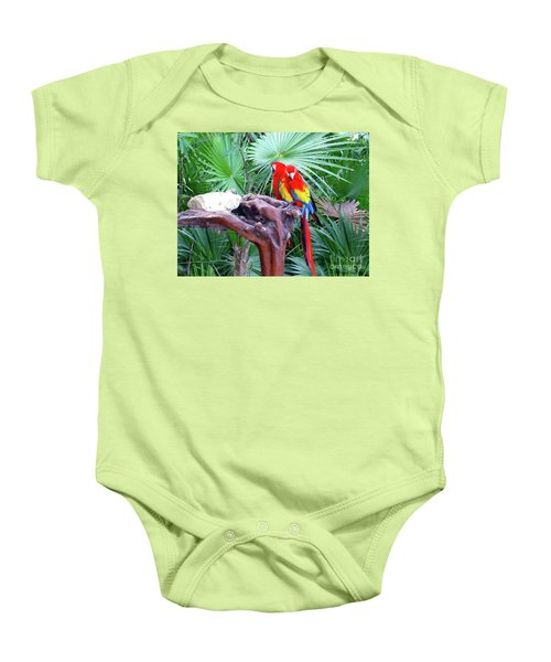 Baby Onesie featuring the digital art Parrots by Francesca Mackenney