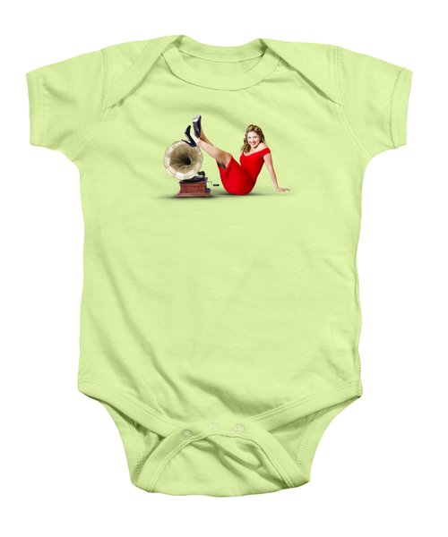 Pinup Girl In Red Dress Playing Classical Music Baby Onesie by Jorgo Photography - Wall Art Gallery