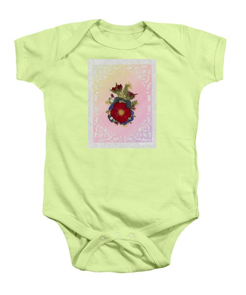 Pressed Flowers Arrangement With Red Roses Baby Onesie
