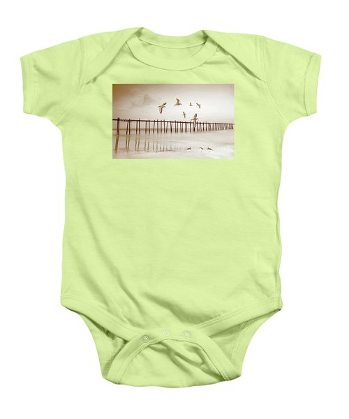 Sandpipers In Sepia Baby Onesie