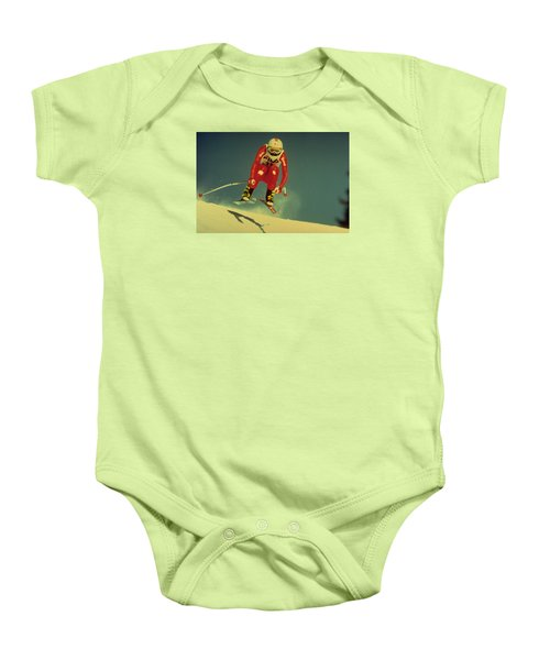 Skiing In Crans Montana Baby Onesie by Travel Pics