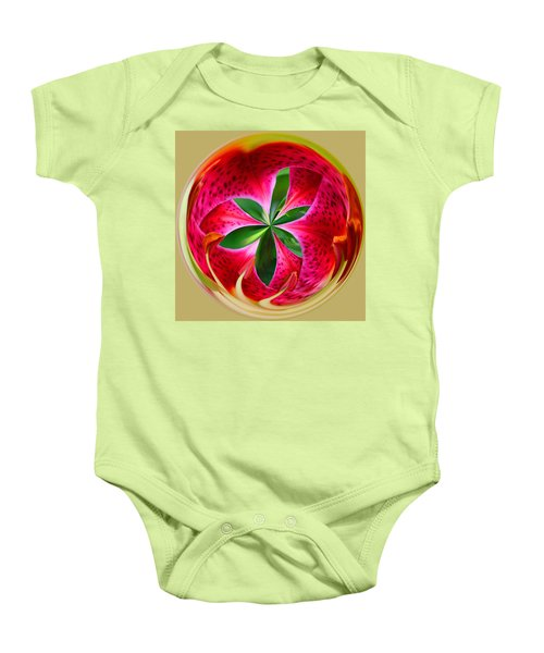 Baby Onesie featuring the photograph Stargazer Lily Orb by Bill Barber