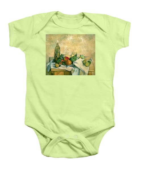 Still Life With Bottle Of Liqueur Baby Onesie by Paul Cezanne