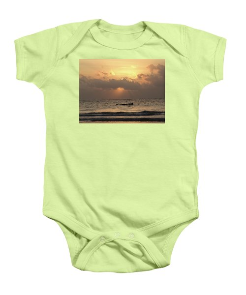 Sun Rays On The Water With Wooden Dhows Baby Onesie
