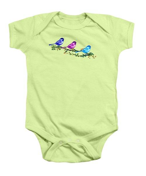 Three Chickadees Baby Onesie by Teresa Ascone