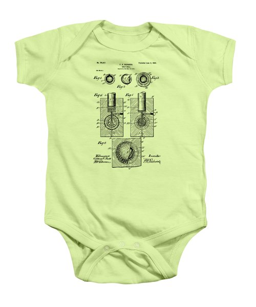 Vintage 1902 Golf Ball Patent Artwork Baby Onesie by Nikki Marie Smith