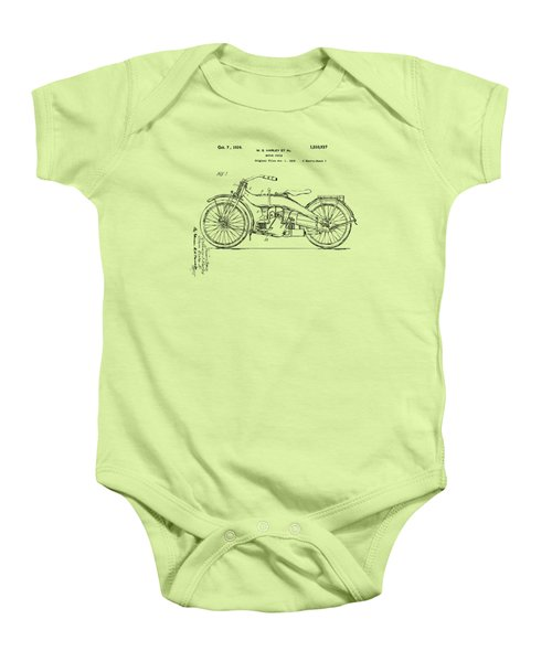 Vintage Harley-davidson Motorcycle 1924 Patent Artwork Baby Onesie by Nikki Smith