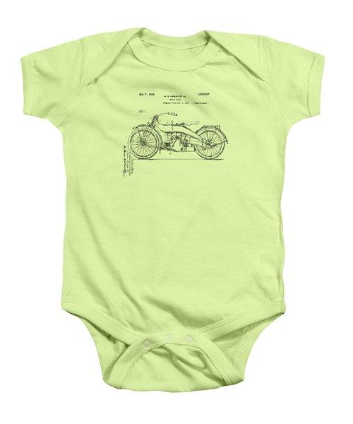 Vintage Harley-davidson Motorcycle 1924 Patent Artwork Baby Onesie by Nikki Smith