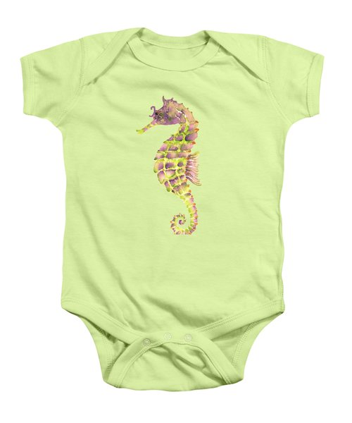 Violet Green Seahorse - Square Baby Onesie by Amy Kirkpatrick