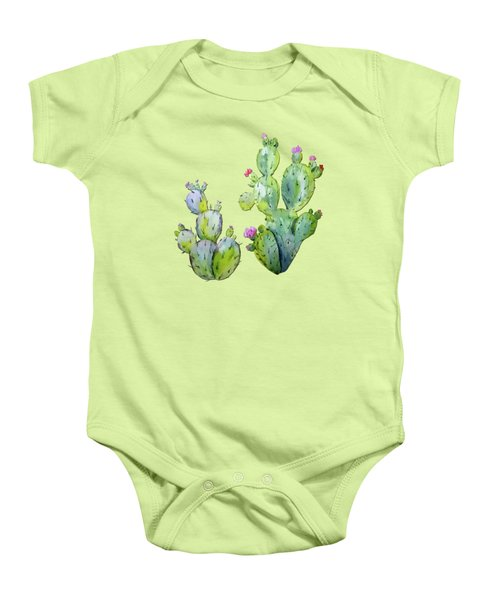 Water Color Prickly Pear Cactus Adobe Background Baby Onesie by Elaine Plesser