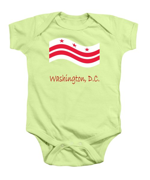 Waving District Of Columbia Flag And Name Baby Onesie by Frederick Holiday