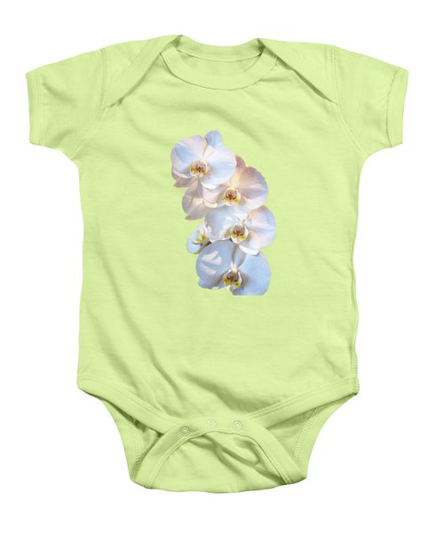 White Orchid Cutout Baby Onesie by Linda Phelps