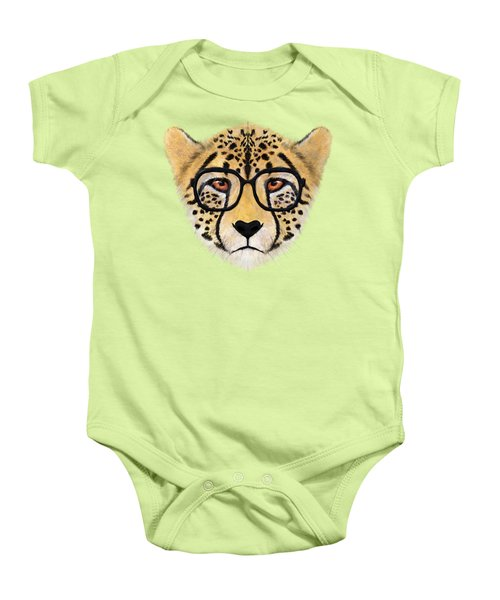 Wild Cheetah With Glasses  Baby Onesie by David Ardil