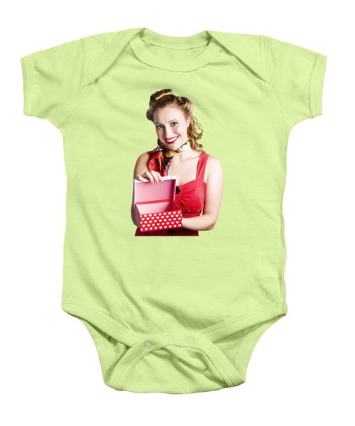 Woman Holding Gift Box Baby Onesie