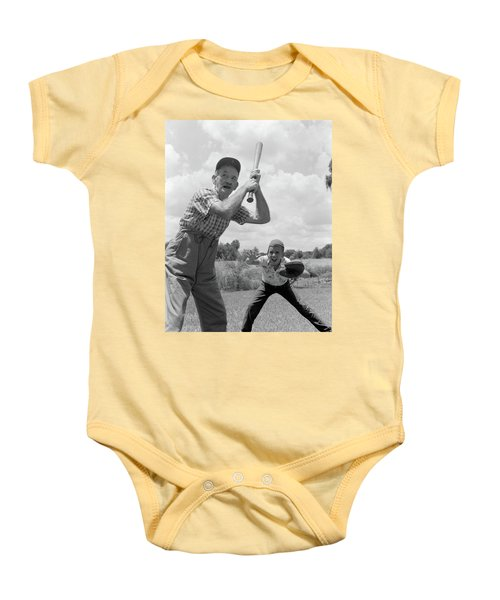 1950s Grandfather At Bat With Grandson Baby Onesie