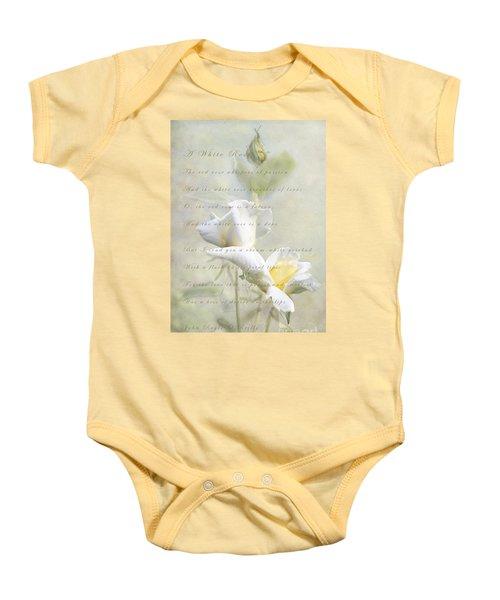 A White Rose Baby Onesie by Linda Lees