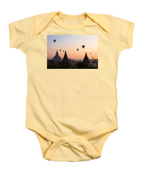 Ballons Over The Temples Of Bagan At Sunrise - Myanmar Baby Onesie