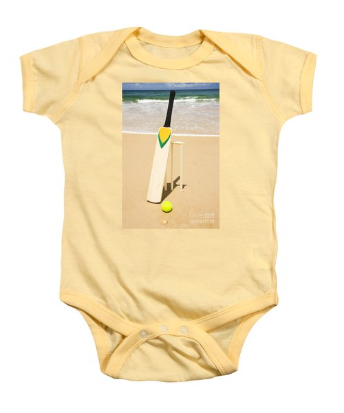 Bat Ball And Stumps Baby Onesie by Jorgo Photography - Wall Art Gallery