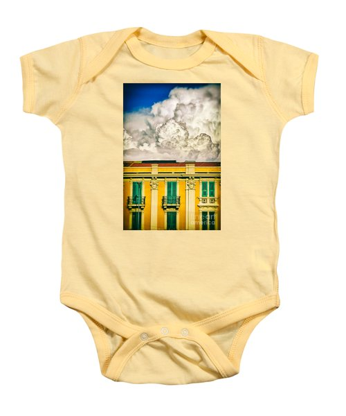 Baby Onesie featuring the photograph Big Cloud Over City Building by Silvia Ganora