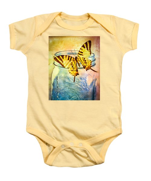 Butterfly Blue Glass Jar Baby Onesie by Bob Orsillo