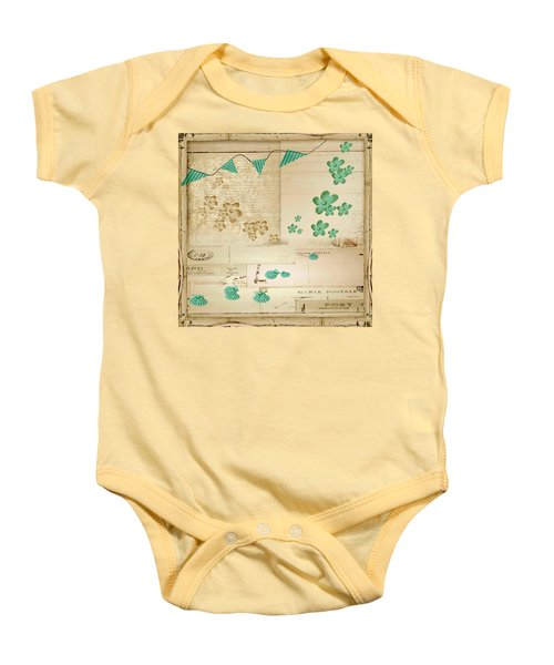 Flowers And Bunting Baby Onesie