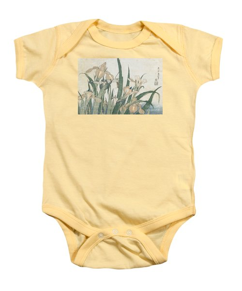 Iris Flowers And Grasshopper Baby Onesie by Hokusai