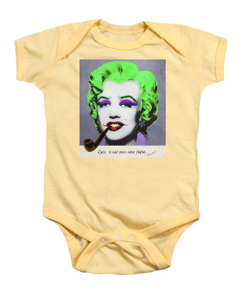 Joker Marilyn With Surreal Pipe Baby Onesie by Filippo B