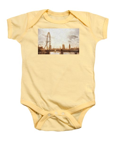 London Skyline At Dusk 01 Baby Onesie by Pixel  Chimp