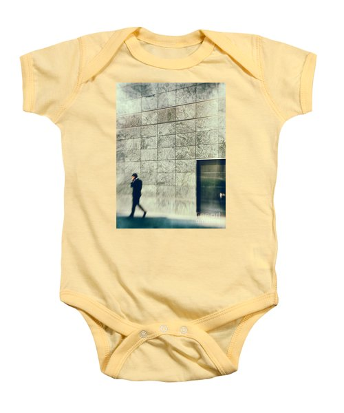 Baby Onesie featuring the photograph Man With Cell Phone by Silvia Ganora