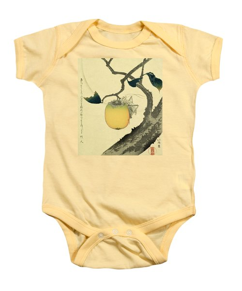 Moon Persimmon And Grasshopper Baby Onesie by Katsushika Hokusai
