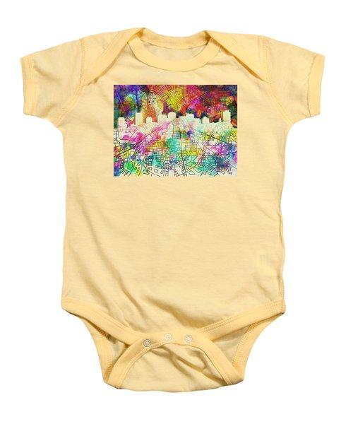 Nashville Skyline Watercolor 7 Baby Onesie