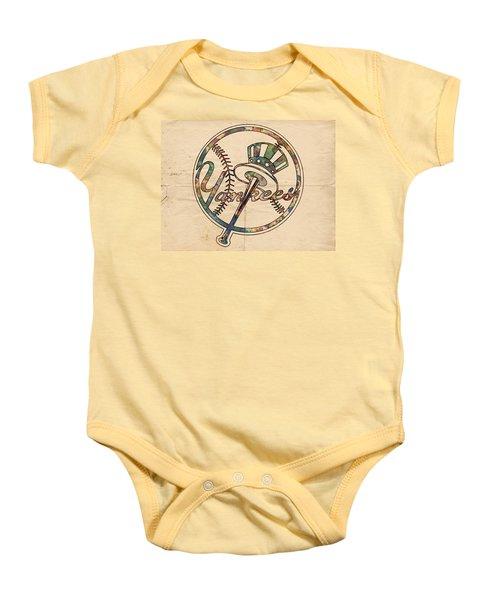 New York Yankees Poster Vintage Baby Onesie by Florian Rodarte