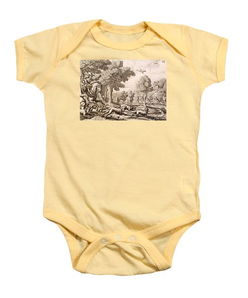 Otter Hunting By A River, Engraved Baby Onesie by Francis Barlow