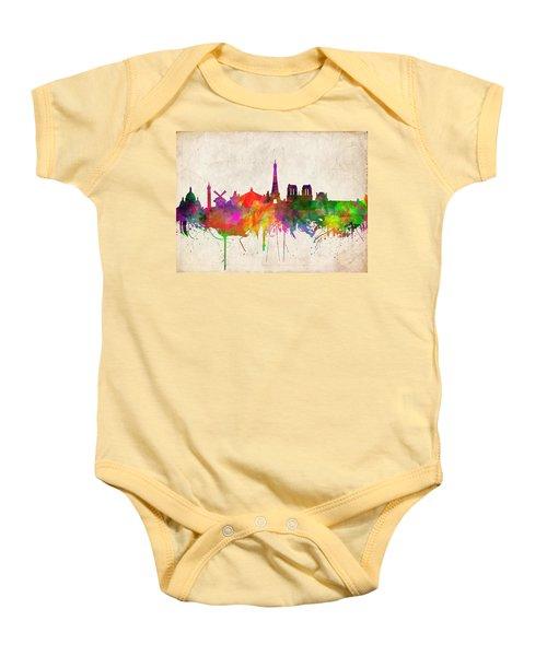 Paris Skyline Watercolor  Baby Onesie