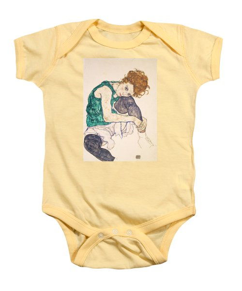 Seated Woman With Legs Drawn Up. Adele Herms Baby Onesie by Egon Schiele