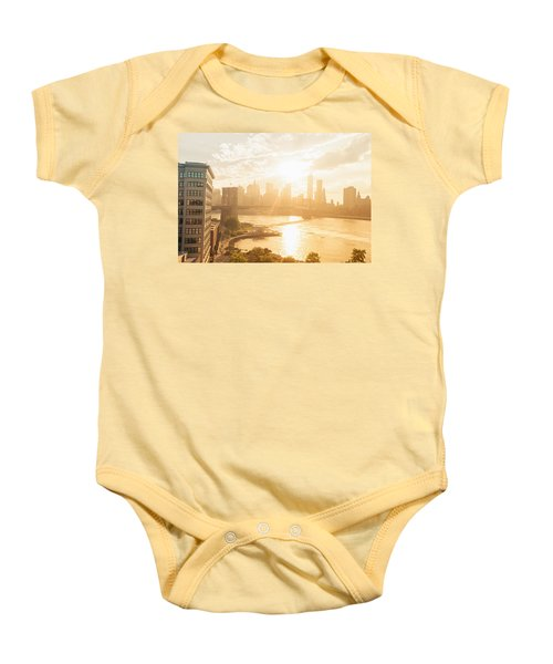 Sunset - Brooklyn Bridge - New York City Baby Onesie