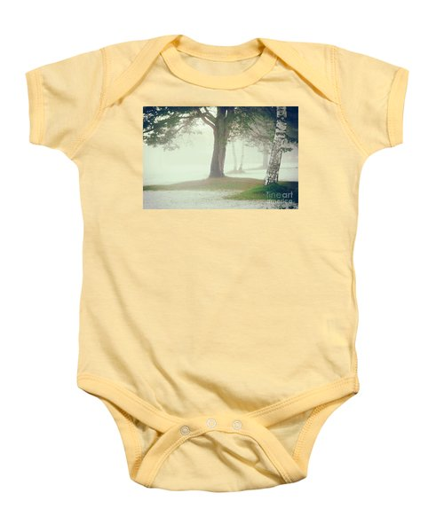 Baby Onesie featuring the photograph Trees In Fog by Silvia Ganora